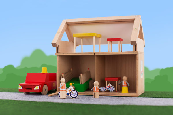 mala rodina drevena stavebnica bez textu